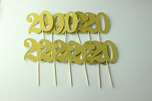Easthors Lot of 12 20th Birthday Decorations Anniversary Cake Cupcake Topper Gold by Easthors (Image #1)