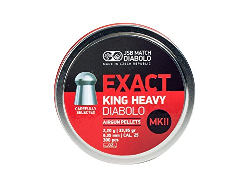 Grain Round Nose 300 - JSB Match Diabolo Exact King MKII Heavy .25 Cal, 33.95 Grains, Domed, 300ct