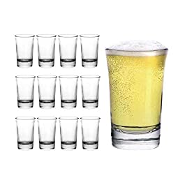 Clear Shot Glasses – Set of 12 – 1.5 Ounce – Heavy Base Round Shooter Glass Set