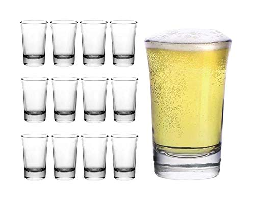 Clear Shot Glasses - Set of 12-1.5 Ounce - Heavy Base Round Shooter Glass Set |