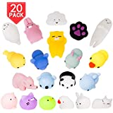 PROLOSO Squishy Toys Cartoon Mochi Animal Stress Reliever Squeeze Anxiety Fidget Toys 20 Pcs