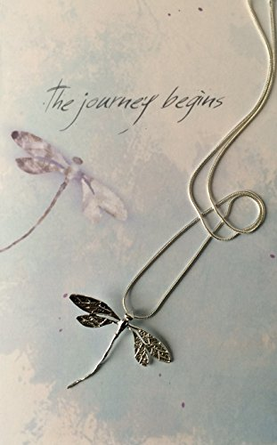 Smiling Wisdom - Dragonfly Journey Greeting Card Gift Set - Dainty Sterling Silver Plated Dragonfly Necklace for Encouragement or Graduation Gift Set for - Cards Journeys Gift