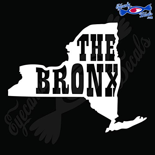 - Eyecandy Decals New York Shape with The Bronx 6 INCH White Decal