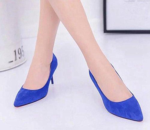 de Elegante Altos Moda Mujeres de Oficina Azul Poco Tacones Elegante Boca Las Trabajo Saihui Desnudas de Zapatos tBnCWq