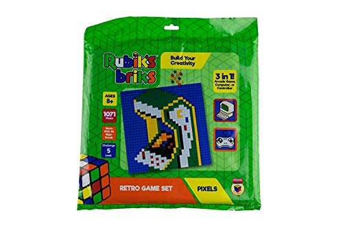 Strictly Briks Rubiks Briks 1x1 Retro Game Pixel Set | STEM Toys from Inventor of Rubik's Cube | 3-in-1 Mosaic Art | Arcade Game, Controller, Computer | 32x32 Baseplate & 768 Brick Tiles