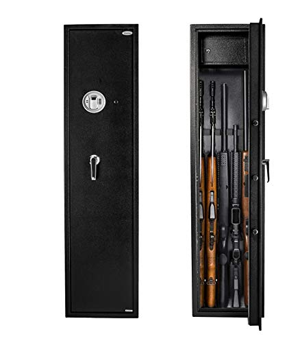 Rifle Safe Gun Safe Quick Access 5-Gun Shotgun Cabinet (Biometric/Digital) (Large Gun Safe-Biometric)