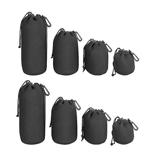 FISHNU 8 Pcs Camera Lens Pouches,4 Sizes Thick Protective Neoprene Lens Bags,Water-Resistance Camera Lens Cases with Drawstring for Canon,Nikon,Pentax,Sony,Olympus,Black (8 Pack)