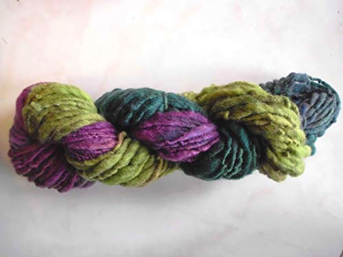 Wool Hand Painted Hand Spun Teal Purple Green Brown Thick Thin Art Yarn