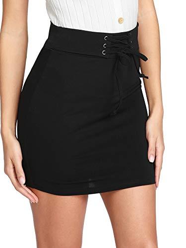 WDIRARA Women's Sexy Lace Up High Waist Bodycon Mini Skirt Black M ()