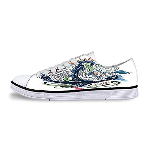 Anchor Decor Soft Low Top Canvas Shoes,Ornate Ship Anchor with Sun Heart and Sea Lettering Mooring Tourists Naval Summer Art Design for Women,US 7