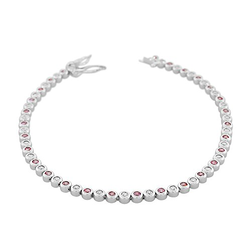 925 Sterling Silver Bezel-Set Round White Pink CZ Classic Tennis Bracelet