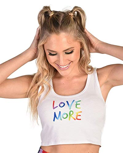 Rainbow White Tank - iHeartRaves Love More Rainbow Graphic Crop Tank Top (White, Medium)