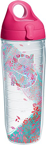 Tervis 1240097 Initial-S Botanical Insulated Tumbler with Wrap and Passion Pink Lid, 24oz Water Bottle, Clear