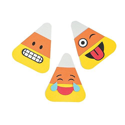 Fun Express Emoji Candy Corn Halloween Magnet Foam Craft Kit - 12 Sets