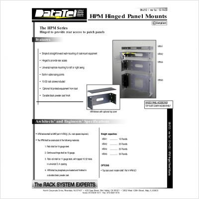 HPM Series Hinged Panel Mount Rack Spaces: 7'' H (4U space)