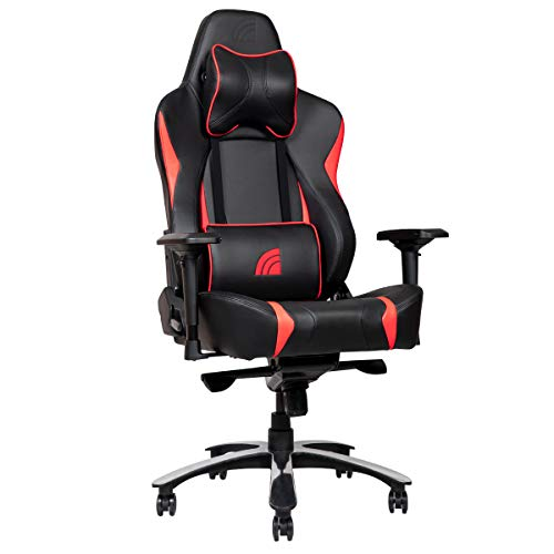 Inland Lightning Ergonomic Racing Style Recliner Gaming Chair with 5-Year Warranty, Black/Red INLAND