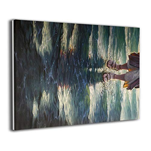 CLLWGH Paintings Wall Art Walking On Water Jesus Modern Decorations for Living Room Bedroom Bathroom Home Decor for Living Room -
