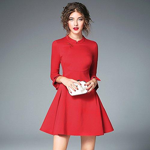 Rojo ZHUDJ Novia Cheongsam Volver Vestido Dress Gran Code Trumpet Tamaño Otoño Vestidos De 076 sleeve De wqwfnFa8