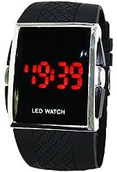 Readeel® Stylish Red LED Light Silicone Jelly Sports Watch Black Band Men Wrist Watch