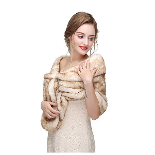 - Yfe Women's Faux Fur Wraps and Shawls Sleeveless Wedding Fur Stole Shrug 1920 Faux Fur Scarf Coat For women Fur Capelet Mink (Brown)