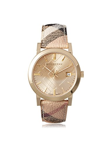 Burberry The City Champagne Dial Haymarket Check Strap Unisex Watch Bu9026