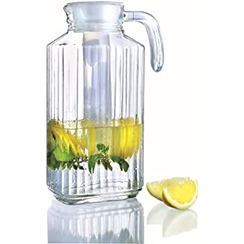 Glass Pitchers with White Lid and Spout 1.7-Liter (57 1/4-Ounce)   Ribbed Cut Design Fridge Door Pitcher   with Handle for Chilled Beverage Homemade Juice, Iced Tea or Water- Luminarc for James Scott