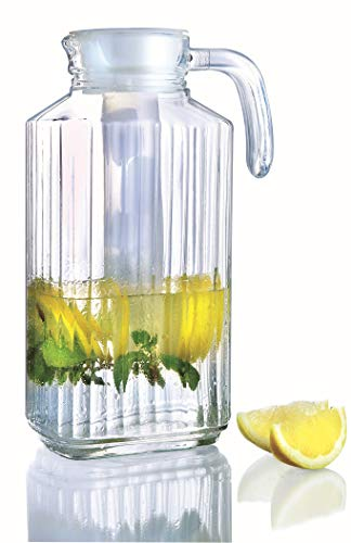 Glass Pitchers with White Lid and Spout 1.7-Liter (57 1/4-Ounce) | Ribbed Cut Design Fridge Door Pitcher | with Handle for Chilled Beverage Homemade Juice, Iced Tea or Water- Luminarc for James Scott