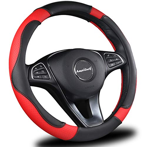(AmeriLuck Car Steering Wheel Cover, Universal 15 inch, Odorless, Breathable, Anti-Slip, Sporty, Soft & Snug Grip (Micro Fiber, Red | Black) )