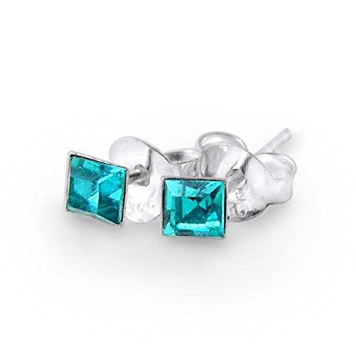 December - Blue Zircon 3MM Square Birthstone 925 Sterling Silver Stud Earring