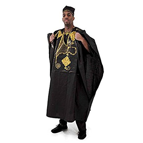 Embroidered Grand Boubou - Black by utopia africa