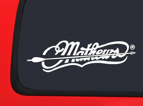 Mathews Archery Logo with Arrow - White Hunting window decal sticker