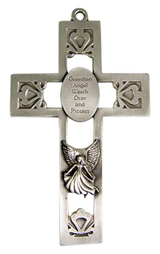 Religious Home Decor Silver-Toned Christian Pewter Guardian Angel Hanging Wall Cross, 5 1/2 inches