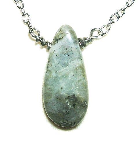 LABRADORITE Stone NECKLACE Metaphysical INCREASE PROTECTION REMOVE NEGATIVE ENERGY Silver Pltd - Freeform Labradorite Pendant