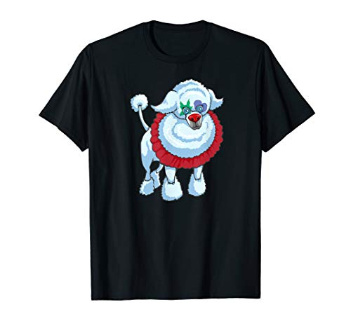 Painted Face Poodle Wearing Halloween Clown Costume TShirt -