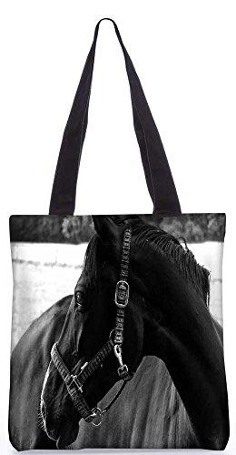 """Snoogg Schwarzes Pferd Tragetasche 13,5 X 15 In """"Shopping-Dienstprogramm Tragetasche Aus Polyester Canvas"""