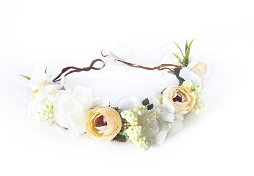 Private Label Occasion (Montpelle Flower Headband Crown for Women - Boho Festival White Flowers Halo)