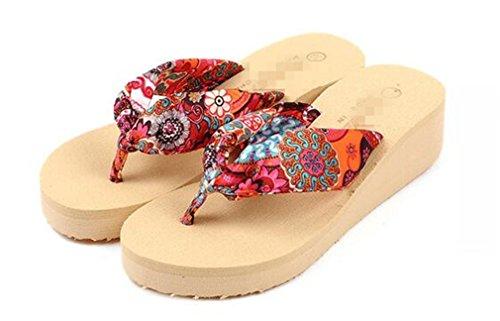 Slippers Sandals Beach Summens Bohemian Women Toe Shoes ® Beige Flops Flip Peep 4UUYEqw