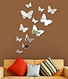 GoldenCart Mirror Wall Decor I Beautiful Silver Butterflies Wall Stickers I 3D Butterfly Mirror Decal I Mirror Wall Art Accents I Acrylic Mural for Kids Room I Peel & Stick DIY I Removable (12 Pieces)