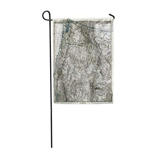 "Tarolo Decoration Flag Idaho 1872 Antique Stieler Map of United States Northeast Oregon Washington Montana Vintage Thick Fabric Double Sided Home Garden Flag 12"" W x 18"" H"
