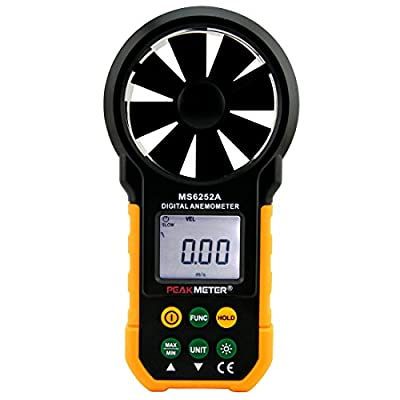 PEAKMETER MS6252A Digital Anemometer Handheld Wind Speed Meter Gauge Air Volume Meter Backlight Air Velocity Measurement
