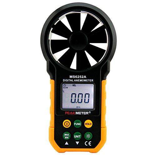 - PEAKMETER MS6252A Digital Anemometer Handheld Wind Speed Meter Gauge Air Volume Meter Backlight Air Velocity Measurement