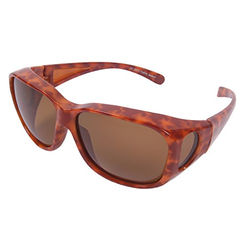 Rapid Eyewear Medium Large Polarized TORTOISE SHELL OVER GLASSES for Women. Ladies Sunglasses That Fit Over Spectacles. OTG With UV400 Protection for Driving, Cycling and General Everyday - Eyeglasses On Shades For Clip