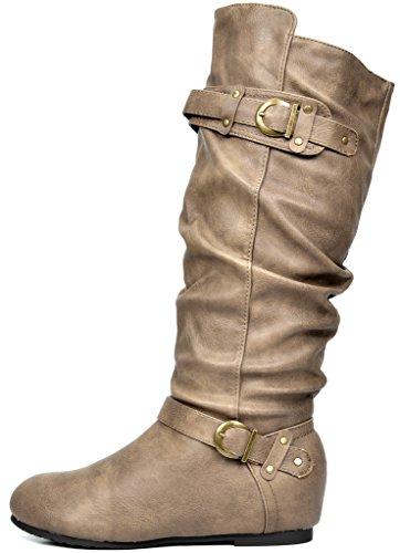 Wedge Women's Boots Knee PAIRS Khaki High Low Hidden DREAM 5YAPq1w