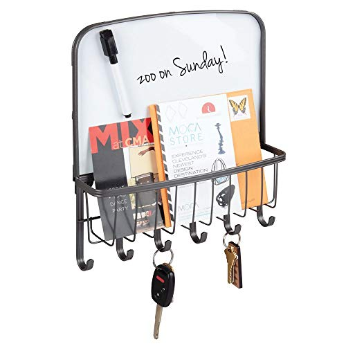 mDesign Metal Wall Mount Entryway, Office Storage Organizer Mail Basket with Dry Erase Board, 6 Hooks - Holds Letters, Magazines, Keys, Coats, Leashes - Strong Steel Wire Design - Graphite Gray (Organizer Wall Iron)