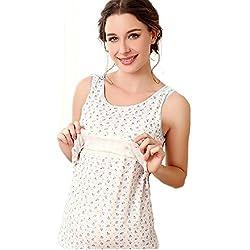 Giftpocket Women's Cotton Summer Sleeveless Maternity & Nursing Tank Top Vest Pink L