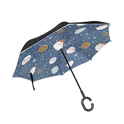 Lsu Golf Cart Bag - Reverse Umbrella Winter Holly Merry Christmas Inverted Umbrella Windproof Anti-UV