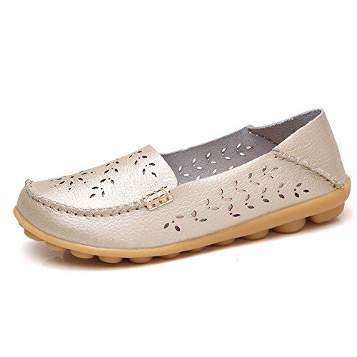 Lingtom Mocasines De Cuero Ocasionales De Las Mujeres Zapatos De Deslizamiento De Conducción Plana De Oro