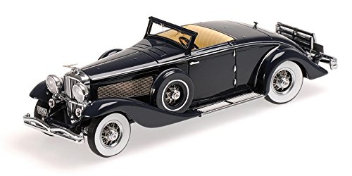 (1936 Duesenberg SJN (Supercharged) Convertible Coupe in Dark Blue Resin Model Car in 1:43 Scale by Minichamps)