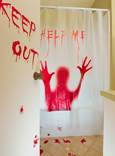 Prextex 3 PC Horror Bloody Halloween Décor Includes: Bloody Help Me Shower Curtain, Bloody Footprints Floor Clings and Keep Out Bloody Stickers