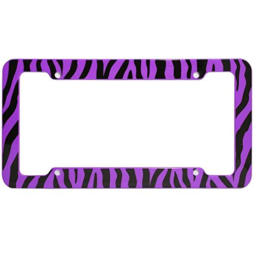 (Motorup America Auto License Plate Frame Cover - Fits Select Vehicles Car Truck Van SUV - Wild Purple Zebra)